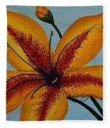 Yellow Oriental Lily Fleece Blanket