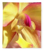 Yellow Pink Orchid Fleece Blanket