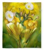 Yellow Poppies In Poppy Vase Fleece Blanket