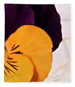 Yellow Purple Pansy Fleece Blanket