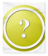Yellow Question Mark Round Button Fleece Blanket