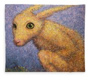Yellow Rabbit Fleece Blanket