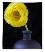 Yellow Ranunculus In Black Vase Fleece Blanket