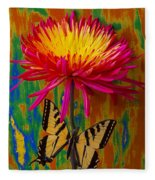 Yellow Red Mum With Yellow Black Butterfly Fleece Blanket