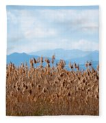 Yellow Reeds And Blue Mountains Fleece Blanket