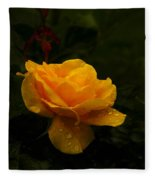 Yellow Rose Dapples With Waterdfrops Fleece Blanket