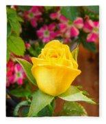 Yellow Rose In Bloom Fleece Blanket