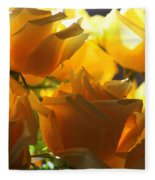 Yellow Roses And Light Fleece Blanket