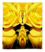 Yellow Roses Mirrored Effect Fleece Blanket