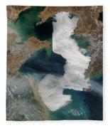 Yellow Sea - Satellite View Fleece Blanket