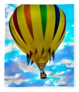 Yellow Striped Hot Air Balloon Fleece Blanket