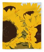 Yellow Sunflowers Fleece Blanket