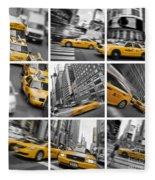Yellow Taxis Collage Fleece Blanket