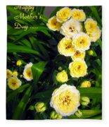 Yellow Tea Rose  Happy Mother's Day Fleece Blanket