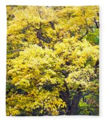 Yellow Tree Fleece Blanket