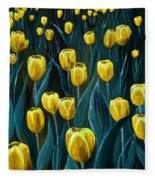 Yellow Tulip Field Fleece Blanket
