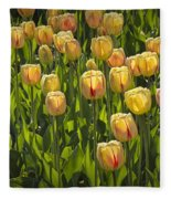 Yellow Tulip Flowers On Windmill Island In Holland Michigan Fleece Blanket