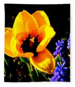 Yellow Tulip Fleece Blanket
