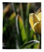 Yellow Tulip With Dew Fleece Blanket