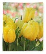 Yellow Tulips In The Spring Garden Fleece Blanket