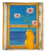 Yellow Vase With Sea View Fleece Blanket