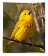 Yellow Warbler Singing Fleece Blanket