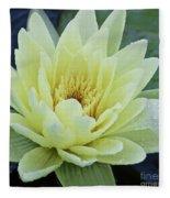 Yellow Water Lily Nymphaea Fleece Blanket