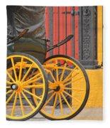 Yellow Wheeled Carriage In Seville Fleece Blanket