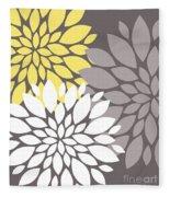 Yellow White Grey Peony Flowers Fleece Blanket