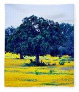 Yellow Wildflowers After Sunrise Fleece Blanket