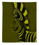 Yellow Zebra Fleece Blanket