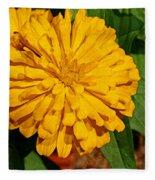 Yellow Zinnia Fleece Blanket