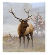 Yellowstone Bull Elk Fleece Blanket