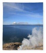 Yellowstone Lake And Geysers Fleece Blanket
