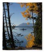 Yellowstone Lake At Dusk Fleece Blanket