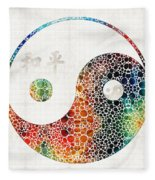Yin And Yang - Colorful Peace - By Sharon Cummings Fleece Blanket