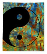 Yin Yang Abstract Fleece Blanket