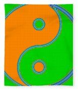 Yin Yang Orange Green Pop Art Fleece Blanket