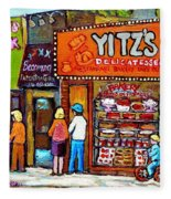 Yitzs Deli Toronto Restaurants Cafe Scenes Paintings Of Toronto Landmark City Scenes Carole Spandau  Fleece Blanket