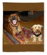 Yorkie And Ridgeback Fleece Blanket