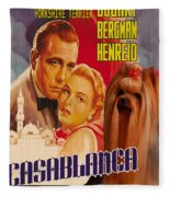 Yorkshire Terrier Art Canvas Print - Casablanca Movie Poster Fleece Blanket