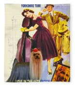 Yorkshire Terrier Art Canvas Print - Love In The Afternoon Movie Poster Fleece Blanket