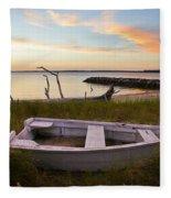 Yorktown Beach Sunset Fleece Blanket
