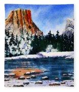 Yosemite In Winter II Fleece Blanket