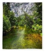 Yosemite Merced River Rafting Fleece Blanket