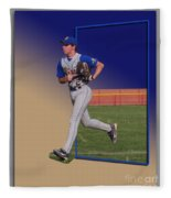 Young Baseball Athlete Fleece Blanket