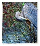 Young Blue Heron Preening Fleece Blanket