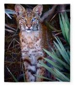 Young Bobcat Fleece Blanket