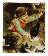 Young Boy With Birds In The Snow Fleece Blanket