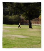 Young Boys Playing Cricket In A Park Near Delhi Zoo Fleece Blanket
